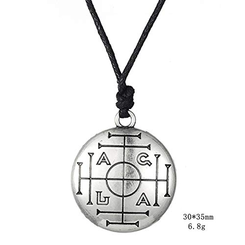 Necklace for Men Medieval Money Talisman Wealth Prosperity Amulet Wiccan Mens Pewter Pentant Chain Sons Leather Leather Leather Jewelry Chain