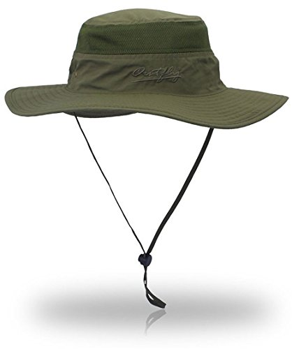 Sf Giants Girl Costume (YOYEAH UPF 50+ Wide Brim Sun Protection Hat Outdoor Mesh Sun Hat Windproof Fishing Hats Army Green)
