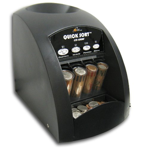 Royal Sovereign Electric Coin Sorter, Patented Anti-Jam Technology, 1 Row of Coin Counting, Black (CO-1000)