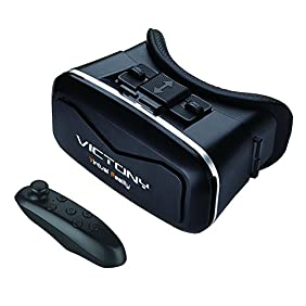 VICTONY 3D VR headset,3D VR virtual reality Glasses Movie Game For IOS, Android ,Microsoft& PC phones Series within 3.5-5.5inches.With Bluetooth gamepad / remote / self timer.(V-LB)