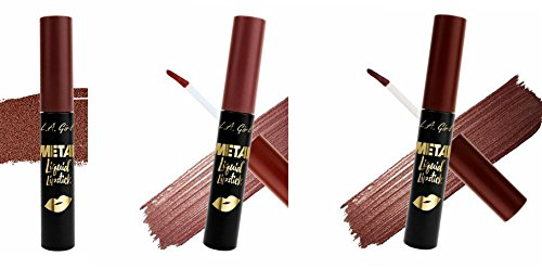 Lavish Lipstick - L.A. Girl Metal Liquid Lipstick Set of 3 Lavish Illuminate Bronzed (dark browns)