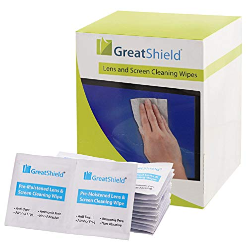 Screen Cleaning Wipes (200 Count), GreatShield Electronic Lens Wipes Anti Fog & Anti Static, Alcohol & Ammonia-Free Screen Cleaner for Eyeglasses, Cellphone, Tablet, Camera Lenses, VR, Keyboard & More ()