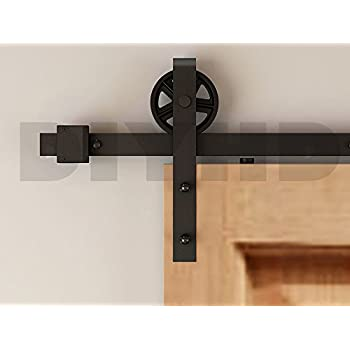diyhd 8ft industrial wheel sliding barn wood door interior closet door kitchen door. Black Bedroom Furniture Sets. Home Design Ideas
