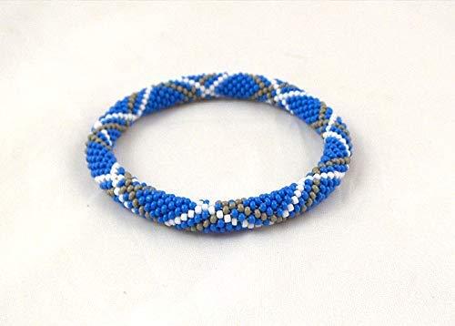 Blue Tartan Bracelet, bead crochet rope, beaded beadwork bracelet