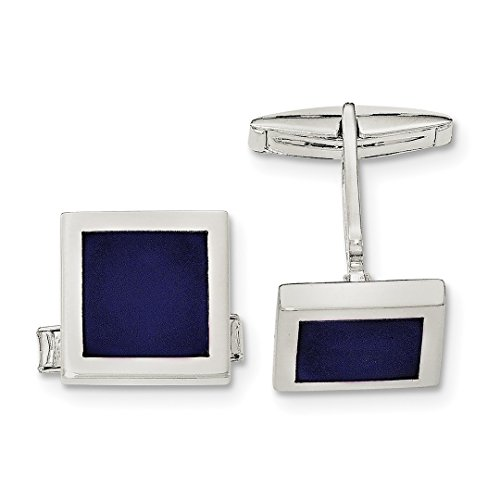 ICE CARATS 925 Sterling Silver Lapis Cuff Links Mens Cufflinks Link Fine Jewelry Dad Mens Gift (Lapis Set Cufflinks)