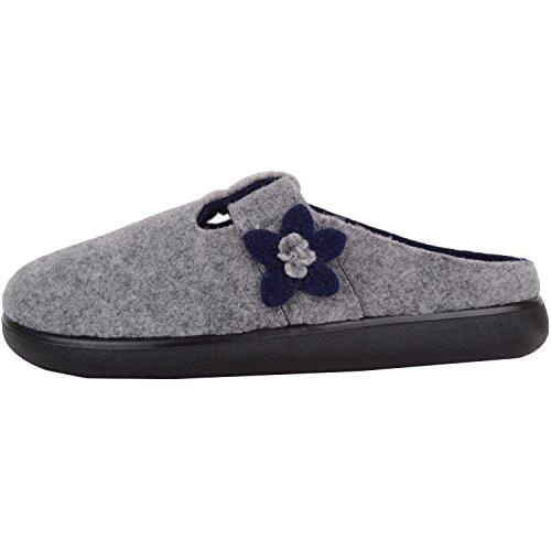 gris bleu marine Absolute Footwear Femme Pour Chaussons xwggUqzH