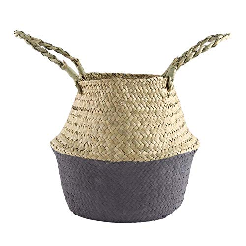 Best Quality - Storage Baskets - Foldable Seagrass Woven Flower Basket Handmade Planter Tote Belly Storage Bag Home Sundries Organizer Handheld Flowerpot - by - 1 PCs