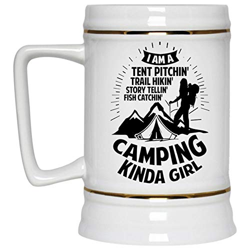 I'm A Story Telling Camping Kinda Girl Beer Mug, I Am A Tent Pitching Trail Hiking Fish Catching Beer Stein 22oz, Birthday gift for Beer Lovers (Beer Mug-White)]()