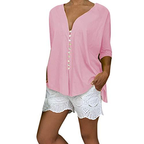 HIRIRI Women's Tunic Top Loose Long Sleeve V Neck Button Up High Low Shirts Blouse T Shirt Pink