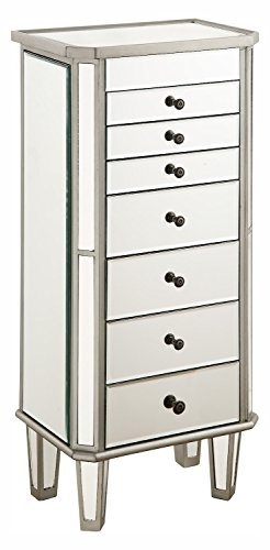 Silver / Clear 18in. Wide 7 Drawer Chest from the Danville Collection by Elegant Decor