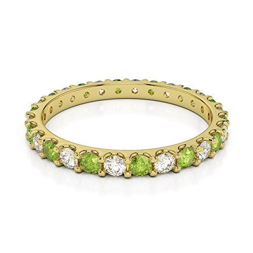 Or jaune 18carats 0,42CT G-H/VS sertie de diamants ronds Cut Péridot et éternité Bague Agdr-1104