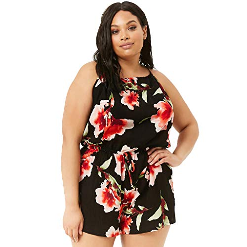 Nadition Summer Floral Print Plus Size Rompers Playsuit Women's Casual O-Neck Bohemian Printed Sling Sleeveless Jumpsuit Black