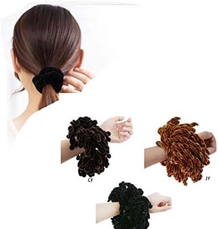 S607 Large Gris Moelleux chouchou//cheveux bande de multiples Douce Pompons élégant femmes
