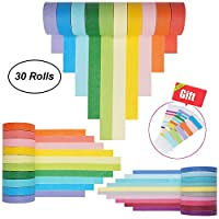 Washi Tape Set 30 Rolls, Colorful Decorative Washi Masking Tape Collection for DIY Scrapbooking Craft Gift Wrapping Tapes(5MM,7.5MM and 15MM Wide)
