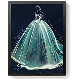 لوحة فستان زفاف تصنعها بنفسك بطلاء الماسي ثلاثية الابعاد وغرزة متقاطعة بدون اطار