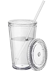 Tumblers with Lids and Straws Wall Clear Plastic Tumblers Bulk Reusable Cups with Straw