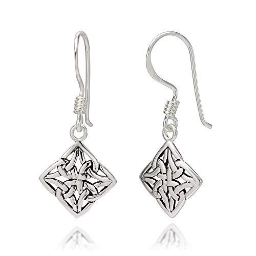 (925 Oxidized Sterling Silver Square Celtic Knot Dangle Hook Earrings)