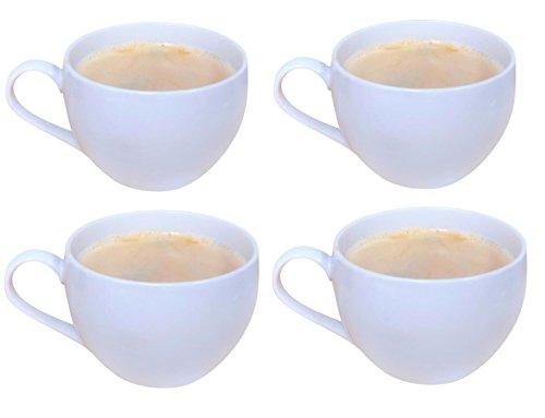 Tableau 18oz Jumbo Latte Cappacino Mug Heavy Duty Soup Mug Set of 4, White (Jumbo Mugs Soup Coffee)