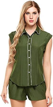 WDDGPZSY Camisa De Dormir/Camisón/Ropa De Dormir/Pijamas/Solid Caasual Sleepwear Color De Contraste Set De Pijamas Set Summer Turn-Down Collar Inicio Ropa Pijama, Verde Militar, XXL: Amazon.es: Hogar