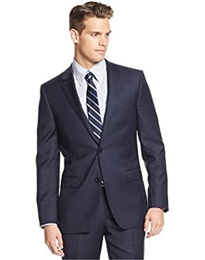 Calvin Klein Slim Fit Navy Solid 2 Button Flat Front New Men's Tuxedo Suit Set