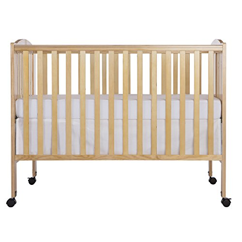 Dream On Me Full Size 2 in 1 Folding Stationary Side Crib Natural