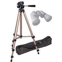 DURAGADGET Sturdy Lightweight Aluminium Tripod with Carry Bag (Binocular Adaptor Required) for Serious User 10x50 Binoculars, Celestron 71008 25x70 Skymaster Porro Prism Binoculars & Nikon Aculon A211 16x50 Binoculars