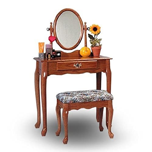 vanity and work desk combo. Oak Wood Vanity With Table  Bench Set Makeup Sets Amazon com