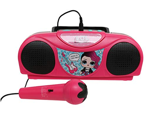 Sakar L.O.L. Surprise KO1-03136 Kids Karaoke Machine with Radio, Portable Fm/Am Radio, Corded Microphone, Durable Handle Allows for Easy Transport, Surprise Stickers, Pink by Sakar (Image #4)