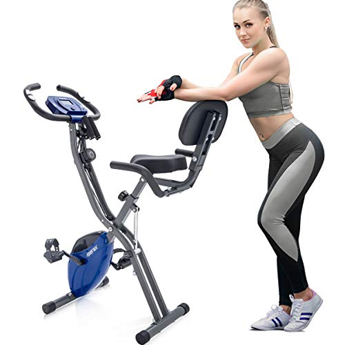 Merax 3 in 1 Adjustable Folding Exercise Bike Convertible Magnetic Upright Recumbent Bike with Arm Bands (Blue)