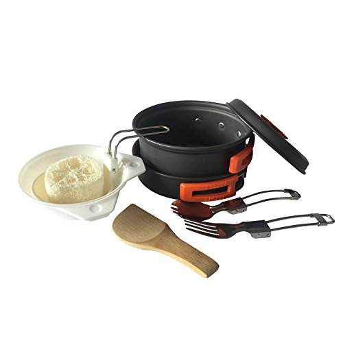 REDCAMP Outdoor Camping Cookware Set / With Stove, Lightweight & Compact, Non-stick Anodized Aluminum Camping Pans and Pots>