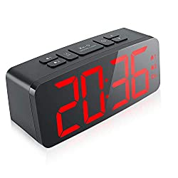 Digital Alarm Clock, 6.3 Large LED Display Digital Alarm Clock with Big Number,6 Level Adjustable Brightness Dimmer and Snooze, Simple LED Clock with Dual Alarm, Powered by AC Adapter (RED)