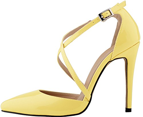 Buckle Heel Business Ponity Party Non 12QP Office Strap Yellow 302 Pretty Sturdy Spike Stilettos Pretty YSE Fresh Sandals Charm Skid Toe CFP Easy Ankle Simple Slim Womens Snug X High wO4p8q