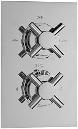 ENKI Mitigeur thermostatique encastrable de douche 3 poignées 2 voies carré
