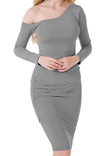Grey Long Package Sleeve Solid Women's Hip Dress Fit Coolred Slim Oblique v1wFqxfR4