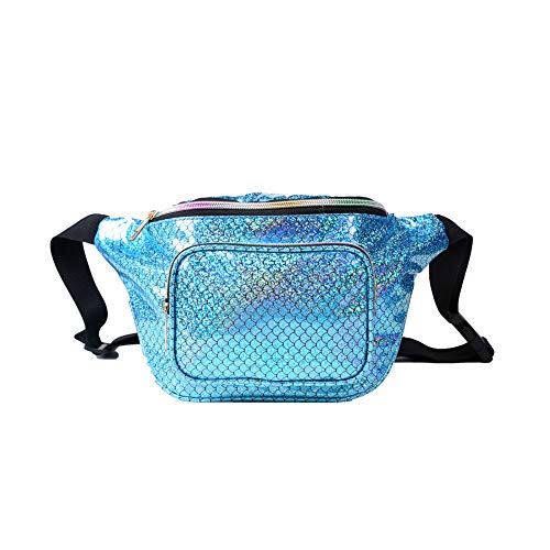 JIGSEAME Women Fanny Pack Holographic Waist Pack Festival Bum Bag-Fanny Pack with Adjustable Belt for Travel,Cycling,and Leisure (06 Mermaid Bule) -