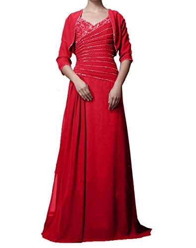 Jaket Ballkleider Abendkleider Elegant Rot Brautmutterkleider Partykleider Langarm Damen mit Chiffon Charmant xwqARCf7w