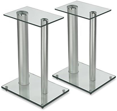 (silver) - Mount-It Premium Aluminium and Glass Speaker Stan