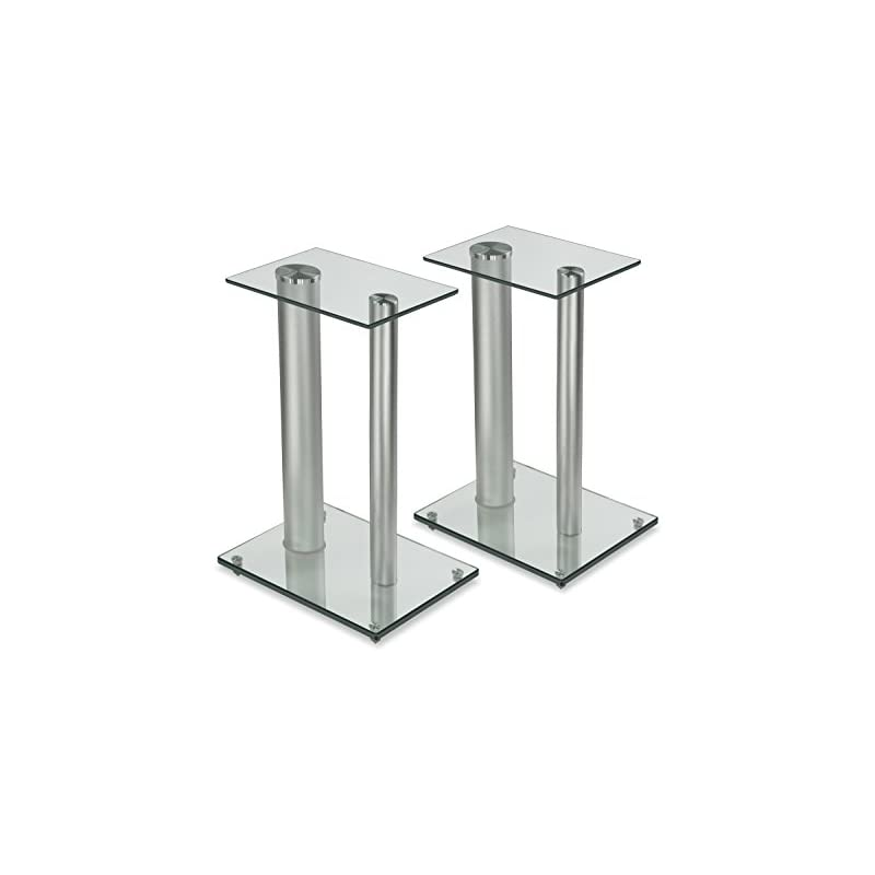 Mount-It! Speaker Floor Stands for Surround Sound Home Theaters, 18 Inch High, 22 Lbs Capacity, Tempered Glass and Aluminum, Clear and Silver, One Pair