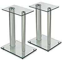 Mount-It! 2 Satellite Speaker Stands for Surround Sound Home Theaters, Glass and Aluminum, Clear and Silver (MI-28S)