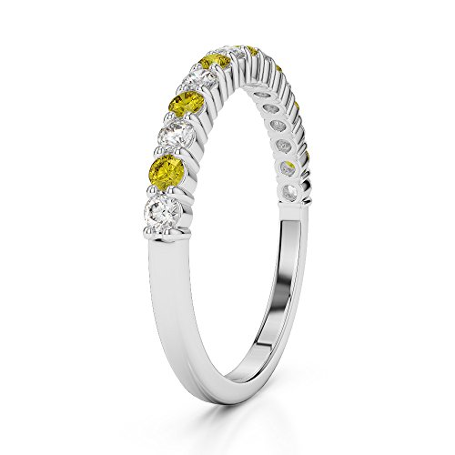 Or blanc 18 carats 0,21 CT G-H/VS Certifié Round Cut Saphir Jaune et diamants Agdr-1113