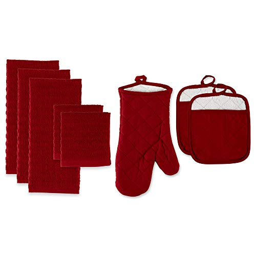 Cotton Kitchen Dish Towels, Pot Holder and Oven Mitt, Set of 8 for Cooking, Baking, Housewarming, Host/Hostess, Wedding Registy, Mother's Day Gifts-Red