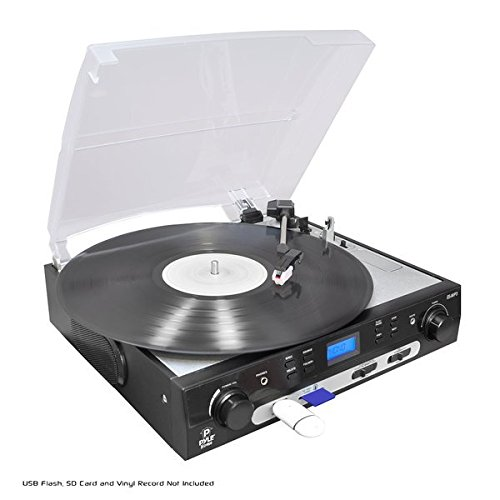 Pyle Upgraded Vintage Record Player - Classic Vinyl Player,