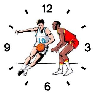 Basketball Players - One on One - Basketball Theme - WATCHBUDDY DELUXE TWO-TONE THEME WATCH - Arabic Numbers - Black Leather Strap-Children's Size-Small ( Boy's Size & Girl's Size )