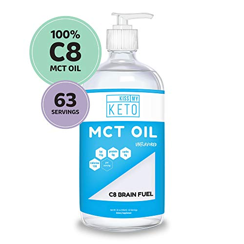 Kiss My Keto C8 MCT Oil - Pure MCT Oil C8 Brain Fuel, 32 oz Glass Bottle with Pump, Best MCT Oil Keto for Ketone Diet, Pure C8 Caprylic Acid, Enhance Ketogenic Performance, Use with Morning Coffee