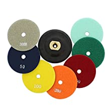 ABN 4-Inch Wet/Dry Diamond Polishing Pads, 8 Piece Set with Buffer, Rubber Backer for Granite, Stone, Marble