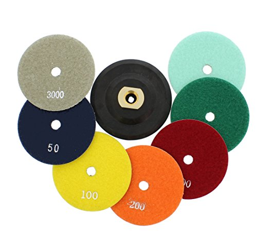 iamond Polishing Pads, 8 Piece Set with Buffer, Rubber Backer for Granite, Stone, Marble, Travertine ()