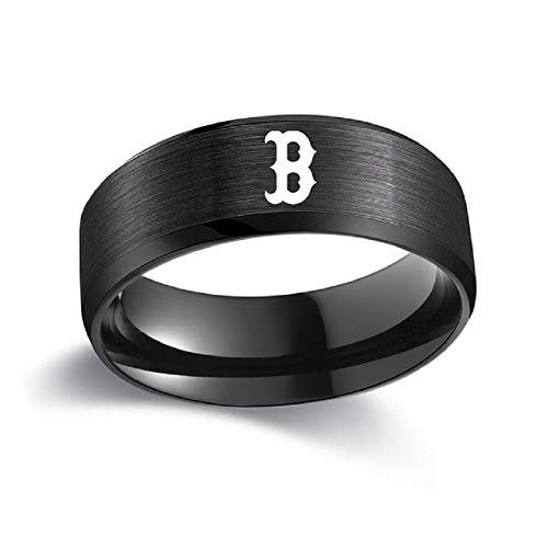FlyStarJewelry Boston Red Sox Ring Baseball Black Titanium Steel Men Sport Ring Band Size 6-13 ()