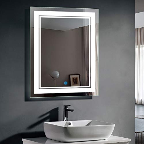 28 x 36 In Vertical LED Bathroom Silvered Mirror with Touch Button - Install Bathroom Tv Mirrors Behind