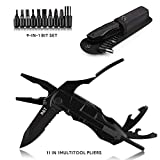 R&T Multi Plier Multitool Pocket Knife Multi-Purpose Folding Knives Keychain Plier Kit in Durable Oxide Stainless Steel for Outdoor Survival, Camping, Fishing, Hunting, Hiking (Black)