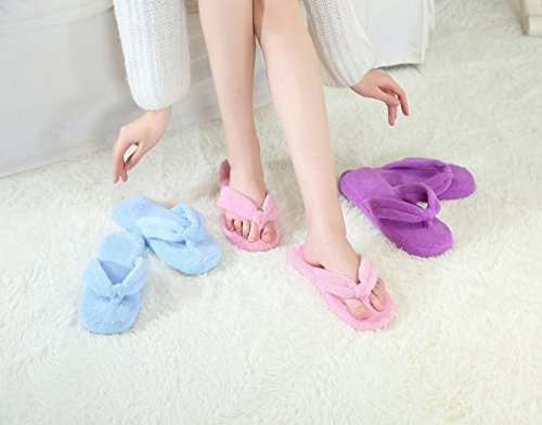 Foam Slippers Women Non Memory Grey Flip Fleece Slip Outsole for Flops Coral XEqAwA